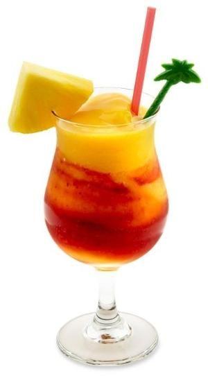 Mango Strawberry Rita- 1 oz. Tequila, 1/2 oz. Triple Sec, 2 oz. Sweet and Sour, 1 oz. Mango Puree, 1-1/2 oz. Strawberry Puree by laura