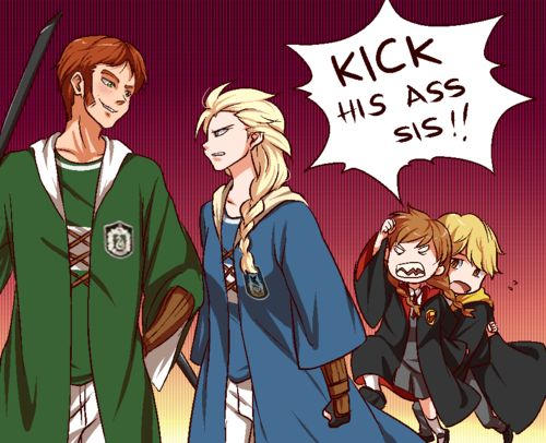harry potter and disney crossover- slytherin vs ravenclaw quidditch match