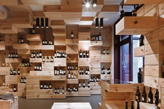 interiors entirely created with recycled wooden wine boxes