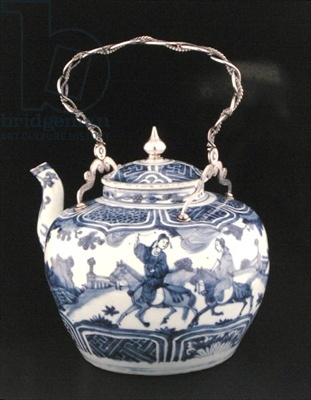 Chinese teapot with European handle, Transitional Period, c.1640 (porcelain with silver)