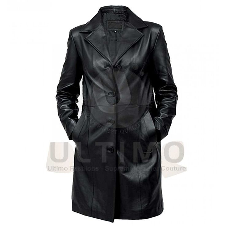 Black Womens Leather Trench Coat
