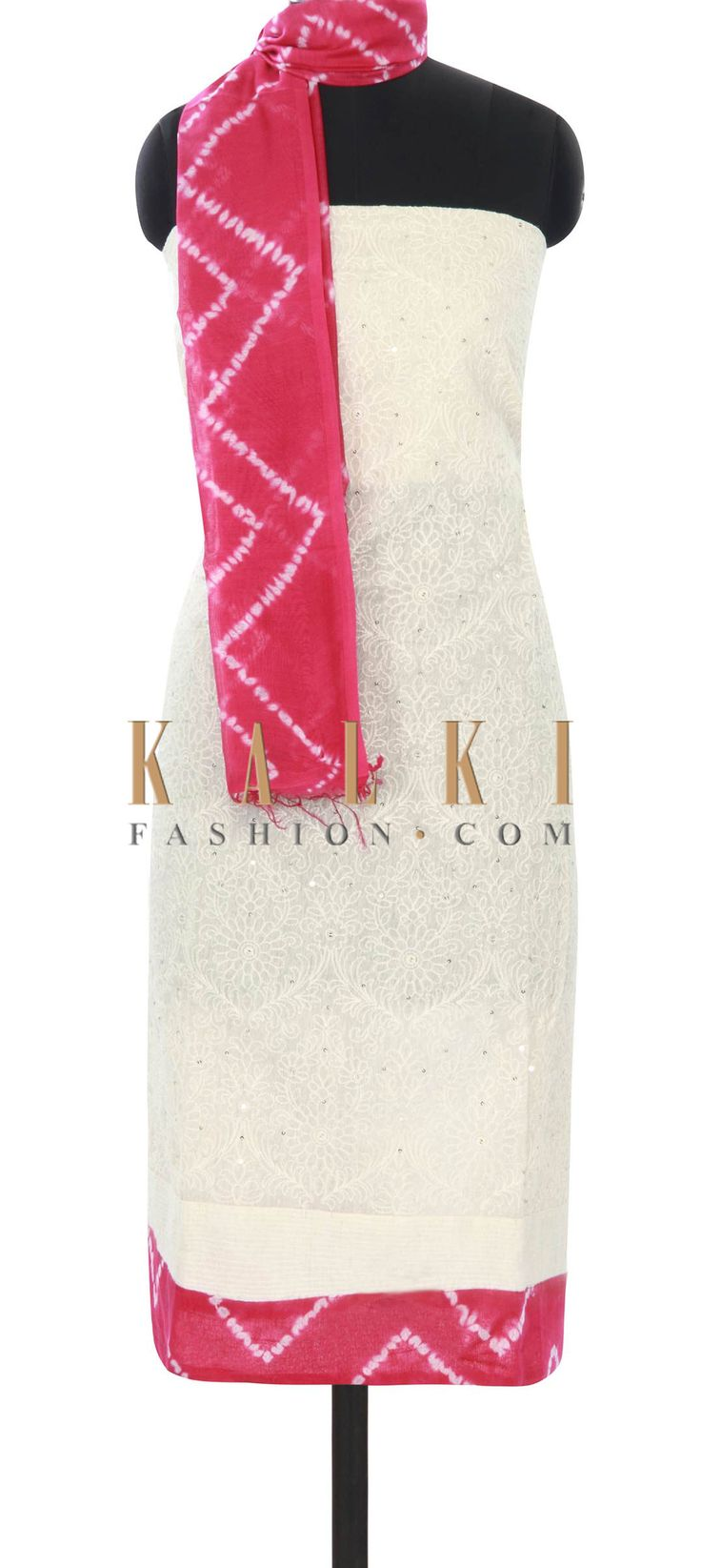 Buy this Off white unstitched suit embellished in thread work only on Kalki