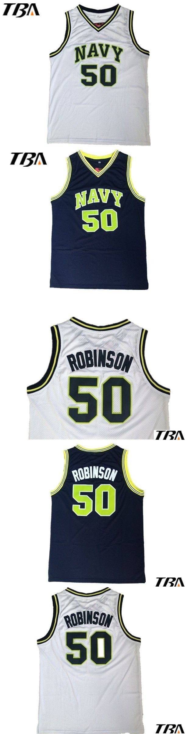 NEW The Admiral David Robinson Navy Black White Stitched Basketball Jersey Sewn Camisa Embroidery Logos