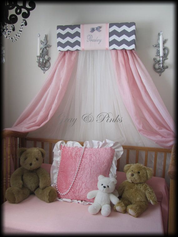 Chevron Monogram Embroidered GRAY Pink Personalized Princess Crown Canopy Bed FREE & 214 best Nursery images on Pinterest | Baby bedroom Baby room and ...