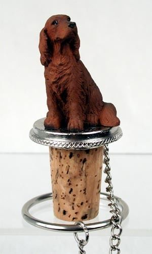 Realistic Hand Painted Elegant Irish Setter Figurine on Wine Bottle Stopper