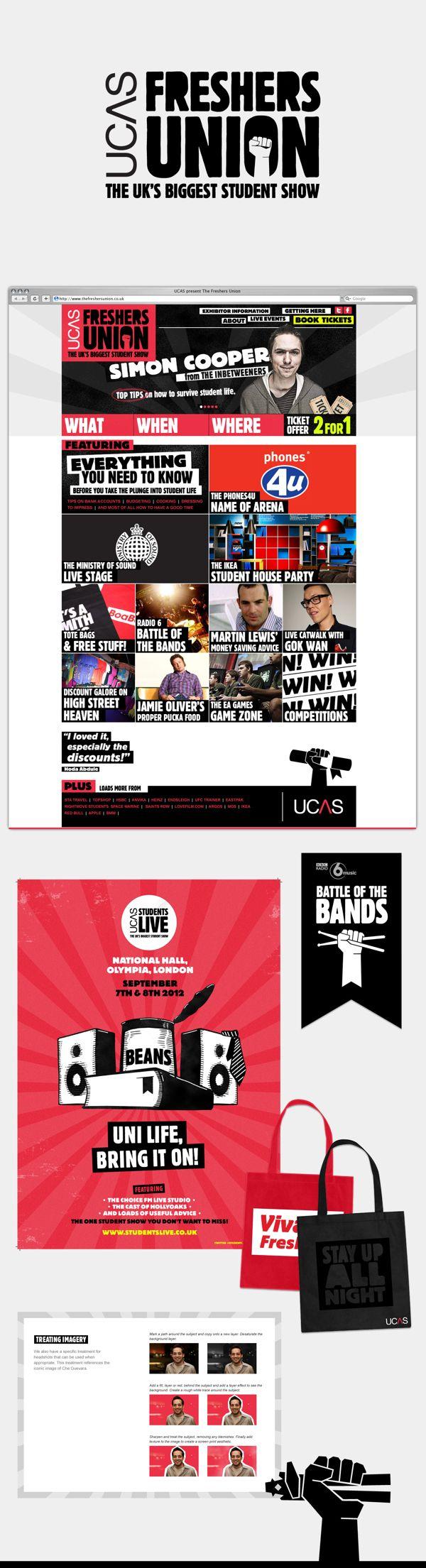 UCAS Freshers Union branding & website design by Rich French, via Behance