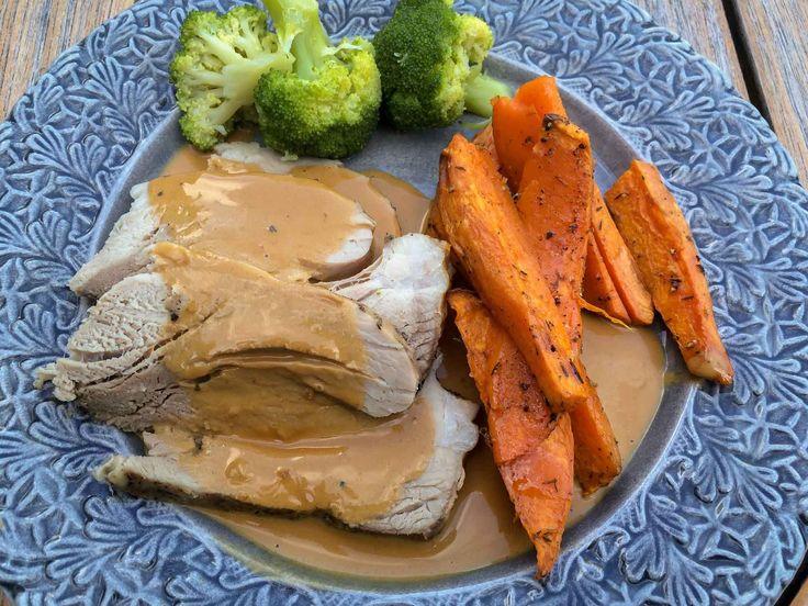 Mat och odla: Långlagad skinkstek i Crock pot med gräddsås och sötpotatis