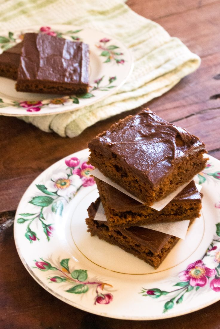 A soft and fudgy chocolate slice.