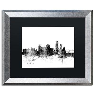 "Trademark Art ""Corpus Christie TX Skyline B&W"" by Michael Tompsett Framed Graphic Art Size: 1"