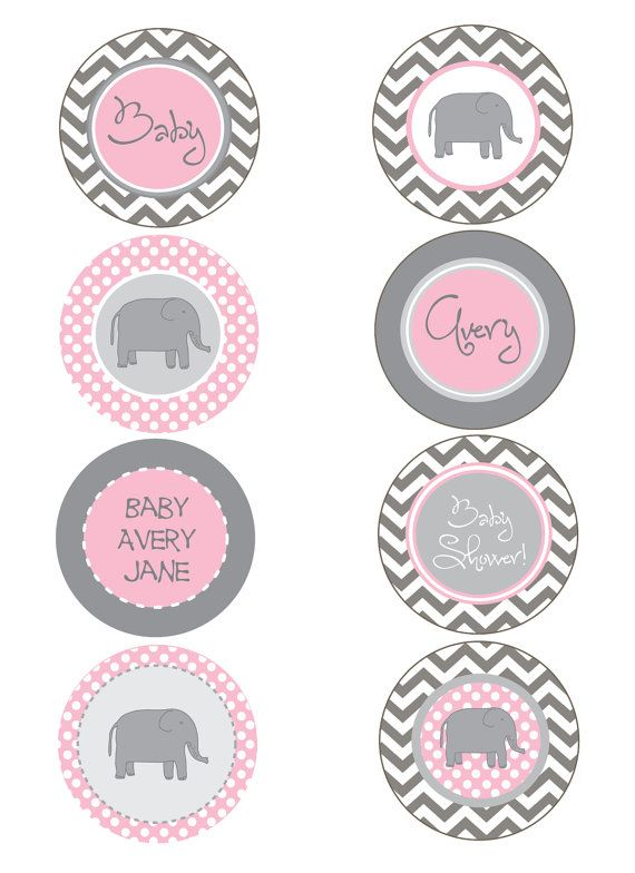 Elephant Pink and Gray Chevron Baby Shower  by PaperEtiquette. , via Etsy.