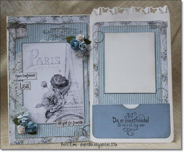 Konfirmasjonskort med papirer fra  www.papirdesign.no