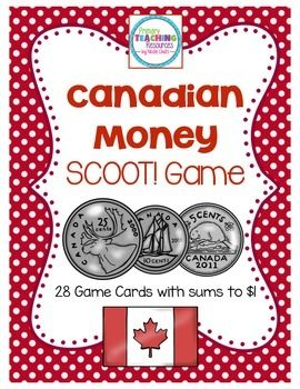 $ Canadian Money Game - Sums to $1: Includes 28 task cards and a recording sheet.