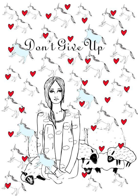 "Pôster ""don't give up"" - SEM MOLDURA - tam A3 - ritawainer"