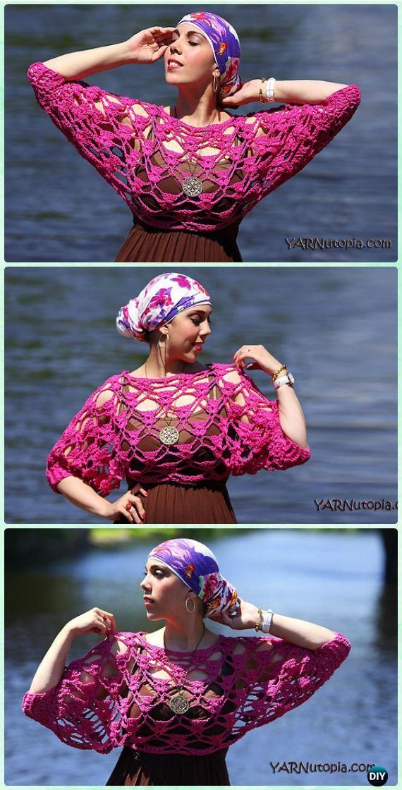 Crochet sol beijou colheita top livre padrão - crochet mulheres colheita