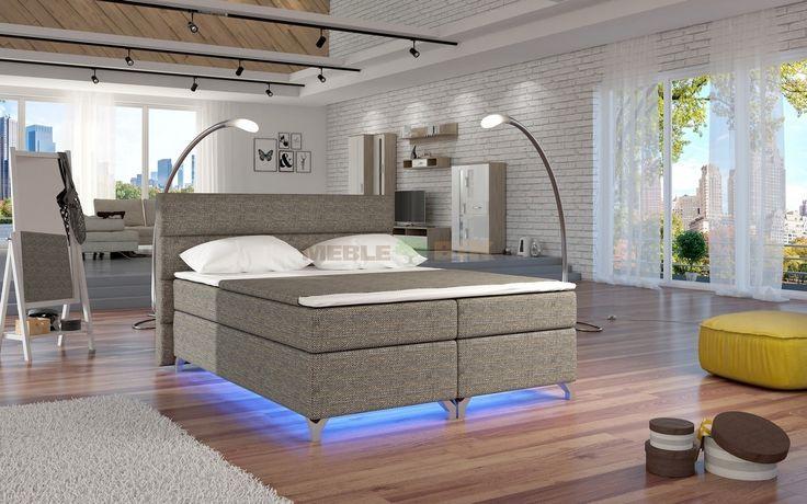 Łóżko tapicerowane kontynentalne Amadeo 160x200 lub 180x200 - ELTAP - sklep meblowy Meble BIK