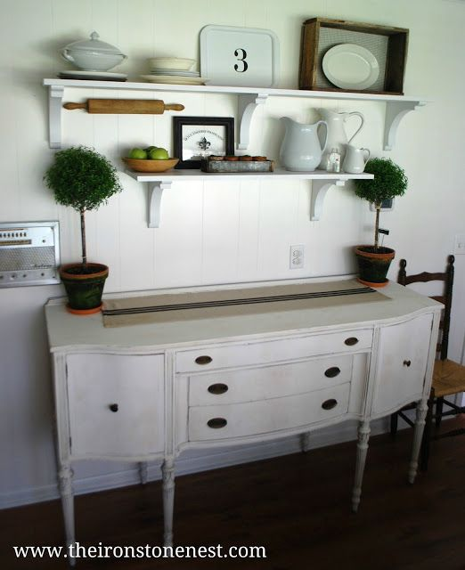 Open Shelves & A Freshly Painted Buffet ( will replace my shelving with this in kitchen)