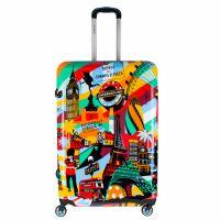 Ezen a trendi bőröndön Európa legfelkapottabb városainak jellegzetes látványosságai jelennek meg egy színes, modern designban
