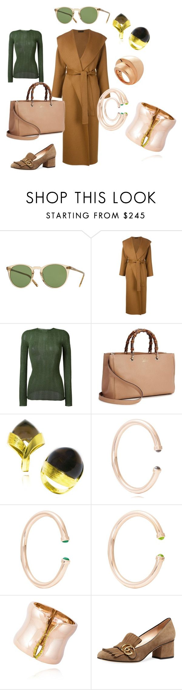 """Green and Camel"" by mateobrown-jewellery on Polyvore featuring de Grisogono, Oliver Peoples, The Row and Gucci"