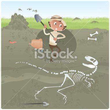 Archaeologist Digging for Dinosaur Bones Royalty Free Stock Vector Art Illustration