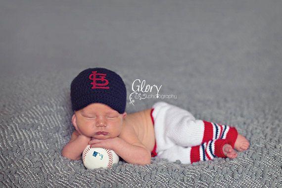 Baby Boy team baseball cap and pants newborn photo by LandyKnits, $55.00