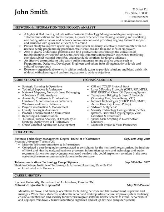 resume examples for network infrastructure