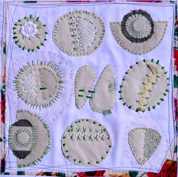 "textile art, 16""x16"", by Zinkodot"