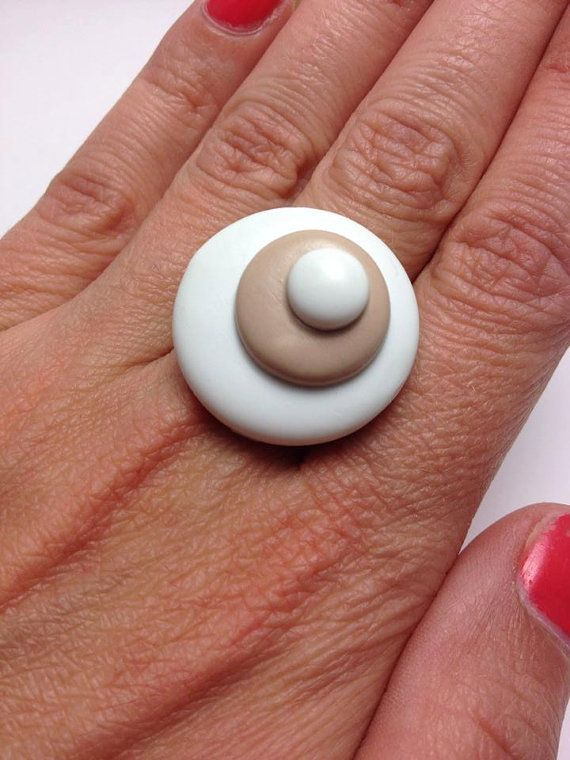 White and Beige Polymer Clay Ring Abstract by JosCreationsGR, €6.00