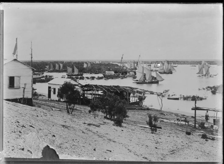 008694PD: Copy of a print. Part of a panorama titled: The pearling fleet at Broome, 1910  https://encore.slwa.wa.gov.au/iii/encore/record/C__Rb2944239