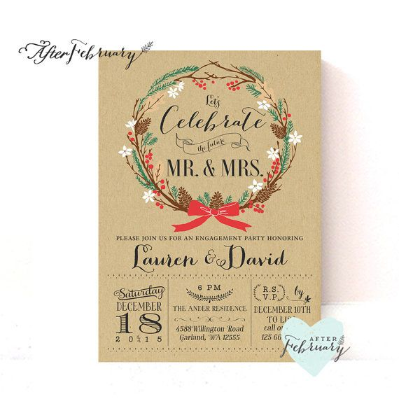 Winter Engagement Party Invitation // Holiday Couples Shower Invitation // Rustic Holiday Engagement   // Printable No.519