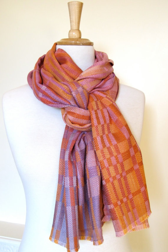 Naturally-dyed, block twill silk scarf by LilouColours on Etsy.