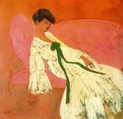 """""""Dama en un sofá"""". Óleo, aguada sobre papel. 31,5 x 32,5 cm. Colección Fontbona-Vázquez."""