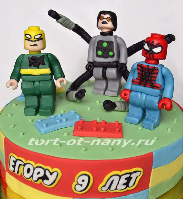 Торт - Лего на тему Человек-паук, Бэтмен, Железный человек