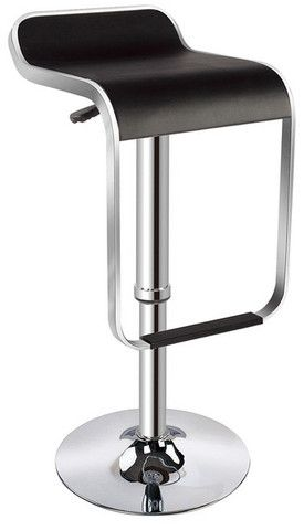 "Skyler Bar Stool  Features:  Dimension: 26.5"" to 36.5""H x 14""W x 12.5""D Chrome Base / PVC Chrome wraps around seat of stool Color: Black or White Adjustable"