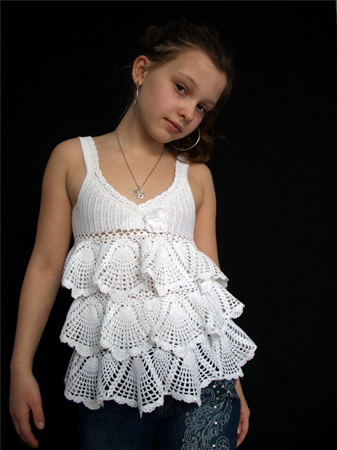 White Strap Top free crochet graph patternLittle Girls ...