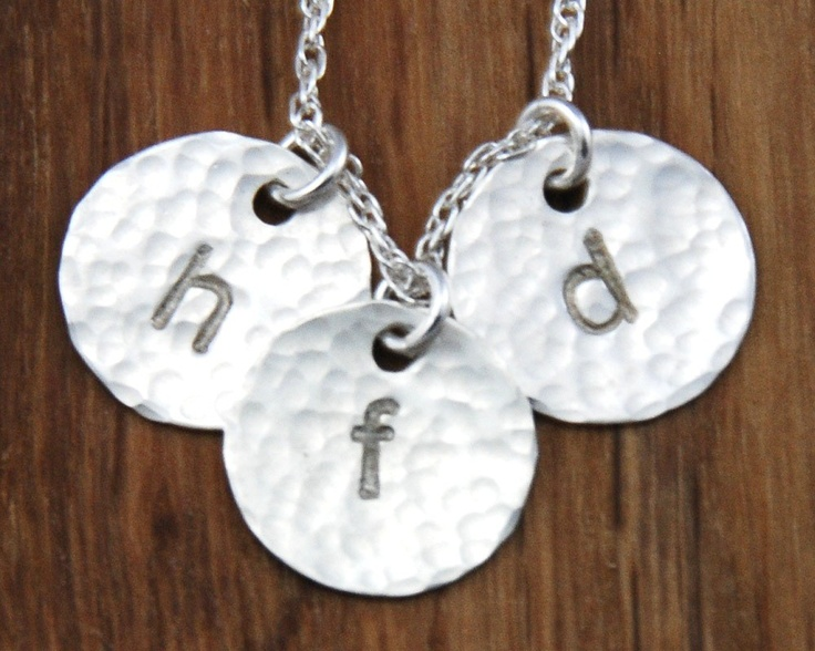 Handstamped 3 Disc Mommy Mom Initial Charm by StellaSalvador, $74.00
