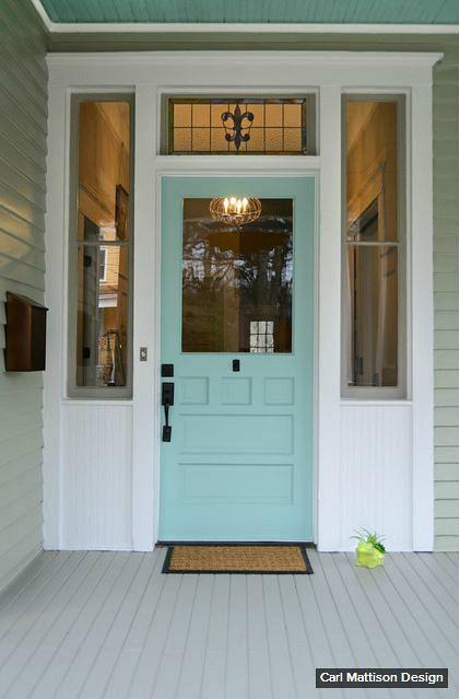 """A Queen Anne Bungalow's front door painted Sherwin-Williams """"Hazel"""" in Grant Park."""