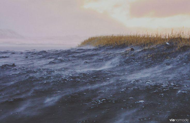 Le vent sur les plages de sable noir