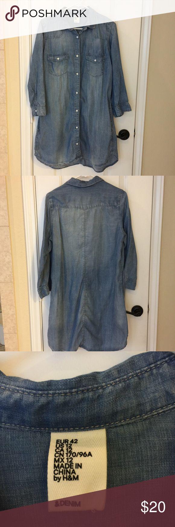 Chambray shirt dress. Chambray shirt dress. Side pockets. Very soft. H&M Dresses Midi