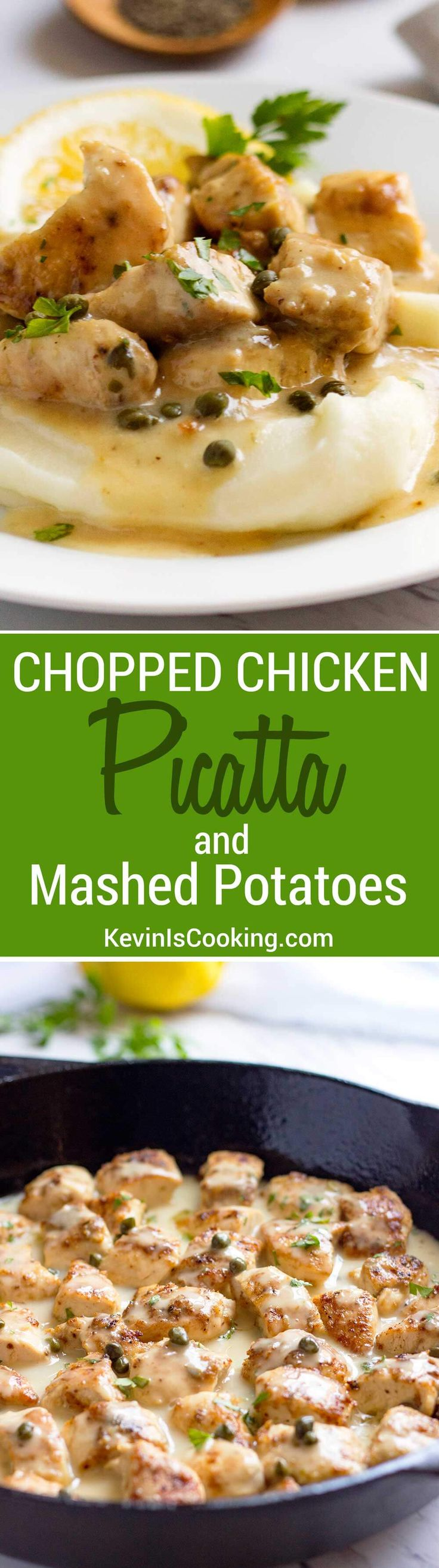 This house favorite uses chopped chicken that gets browned, drenched in a easy, lemony caper pan sauce and tops mashed potatoes for a perfect comfort dinner.