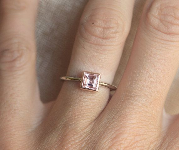 $790 Gold Morganite Ring Pink Morganite Ring Solitaire by capucinne