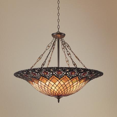 adriana vintage bronze six light pendant chandelier - Tiffany Chandelier