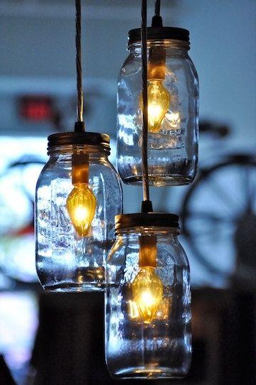 Recycled Mason Jar Chandelier Pendant Lamp Hanging Light