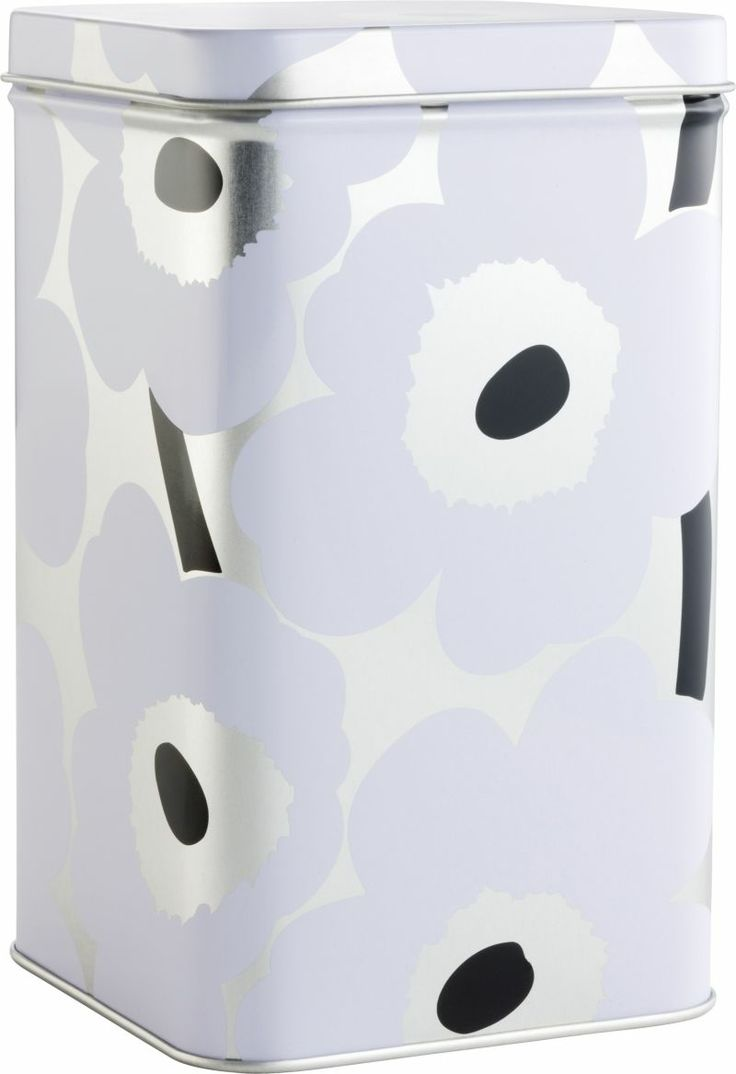 Marimekko Unikko Tall White and Silver Tin Box  | Crate