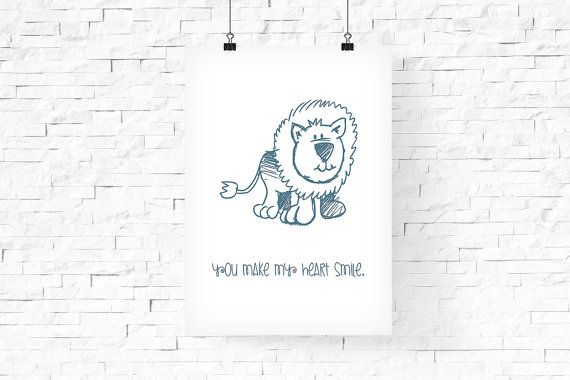 Cute Leon Printable Art 8x10  Instant Download  by FPD3sign