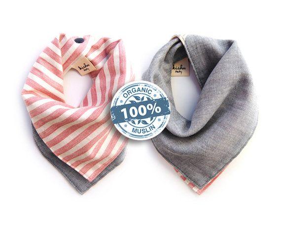 Bio-Baumwolle Musselin Bandana Lätzchen, 100 % Premium Baumwolle japanische Musselin, Handmade in USA, reversibel mit Druckknöpfen, Einheitsgröße verstellbar