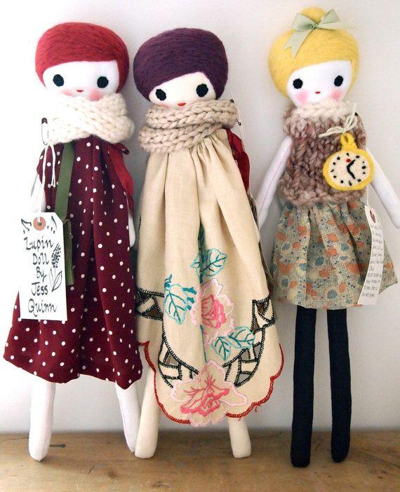 Lupin doll cloth rag doll heirloom quality by JessQuinnSmallArt