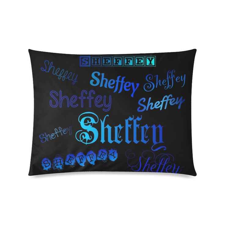 Sheffey Fonts - Shades of Blue on Black 040 Custom Zippered Pillow Cases