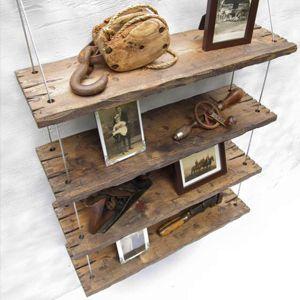 Mensole vintage in legno massello fatte a mano