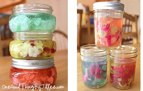Make your own Gel Air Fresheners. Makes a cute and SUPER easy gift! :-)