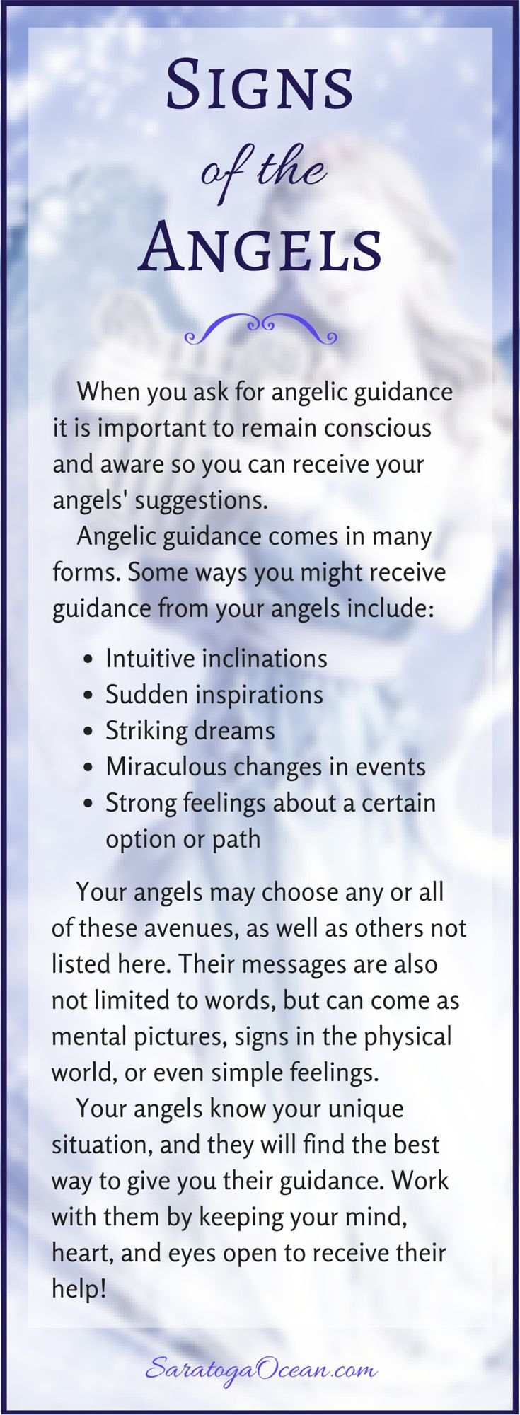 How can you tell if your angels are trying to give you a message? Angelic guidance can come in many different ways. It's always important if you ask for angelic assistance, to stay open and aware so you can receive their answers.